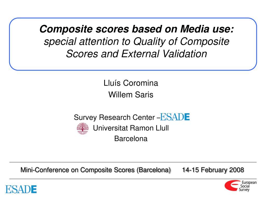 Composite scores based on Media use: