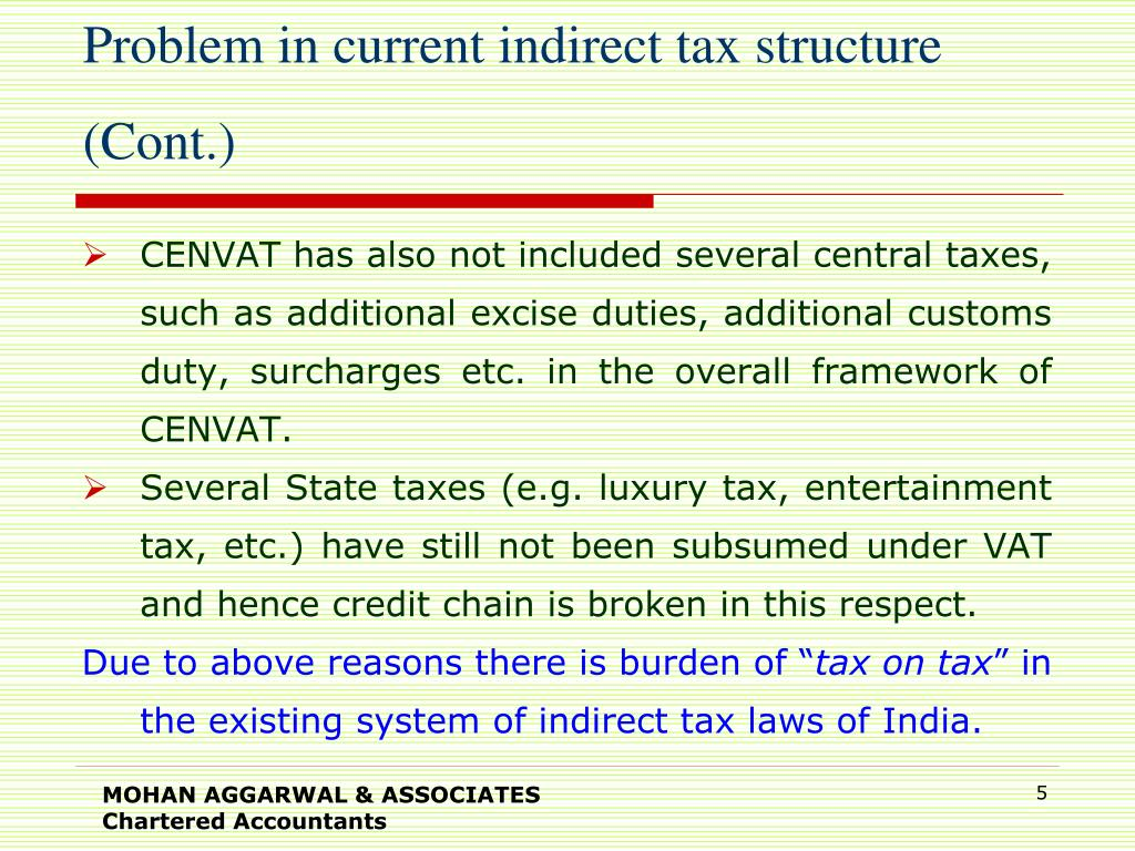 Problem in current indirect tax structure (Cont.)