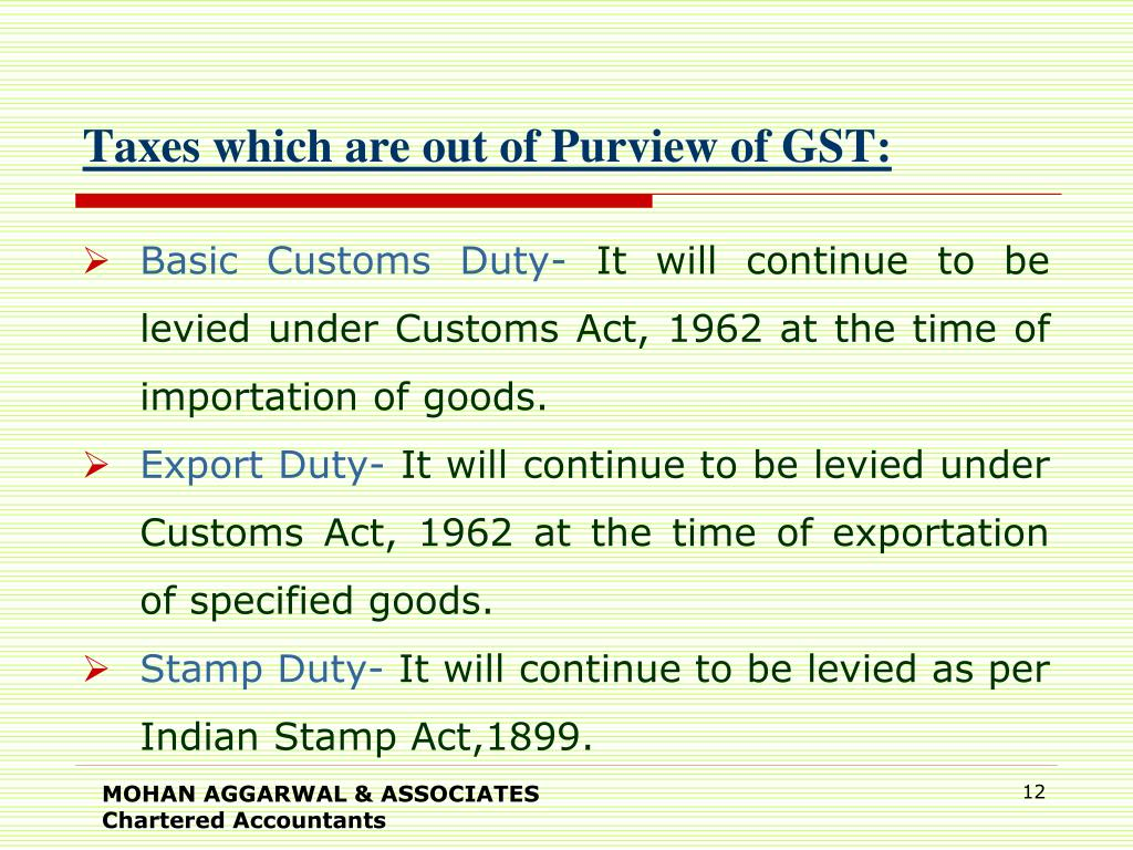 Taxes which are out of Purview of GST: