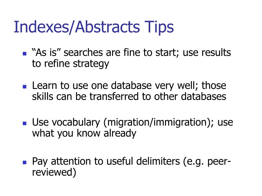 Indexes/Abstracts Tips