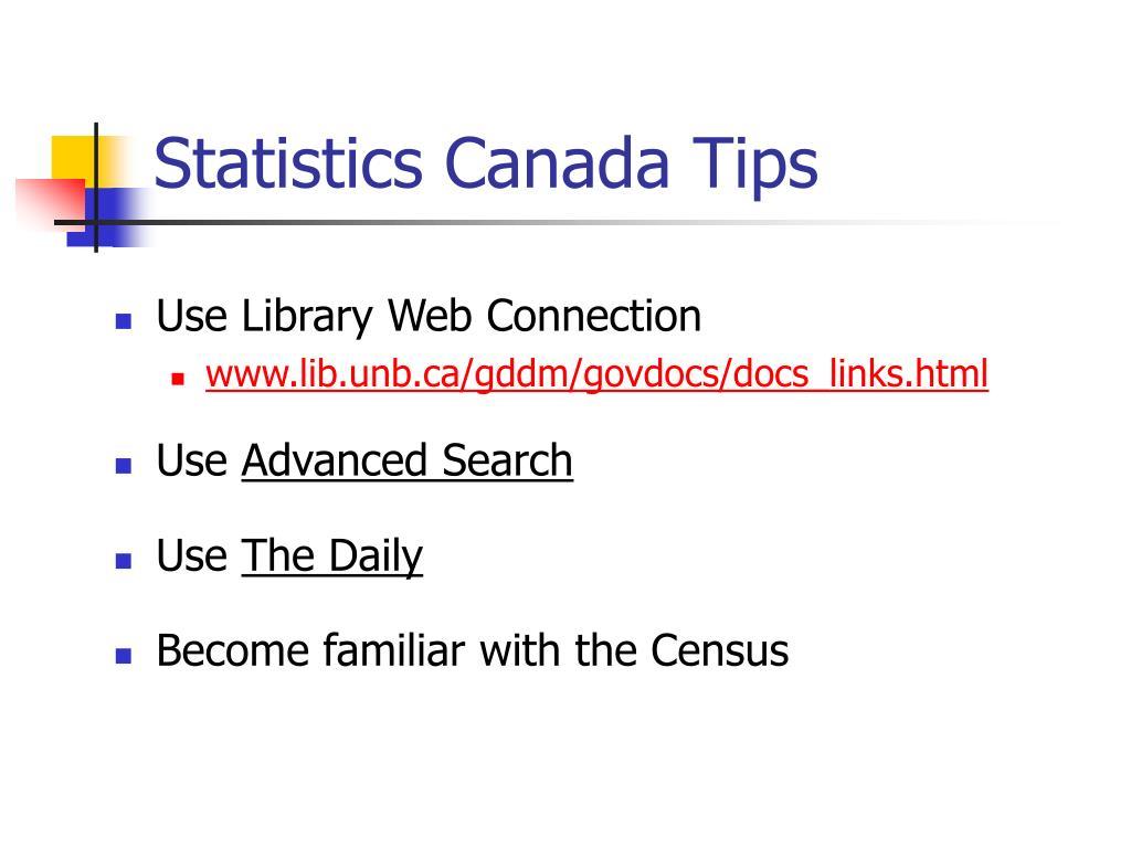 Statistics Canada Tips
