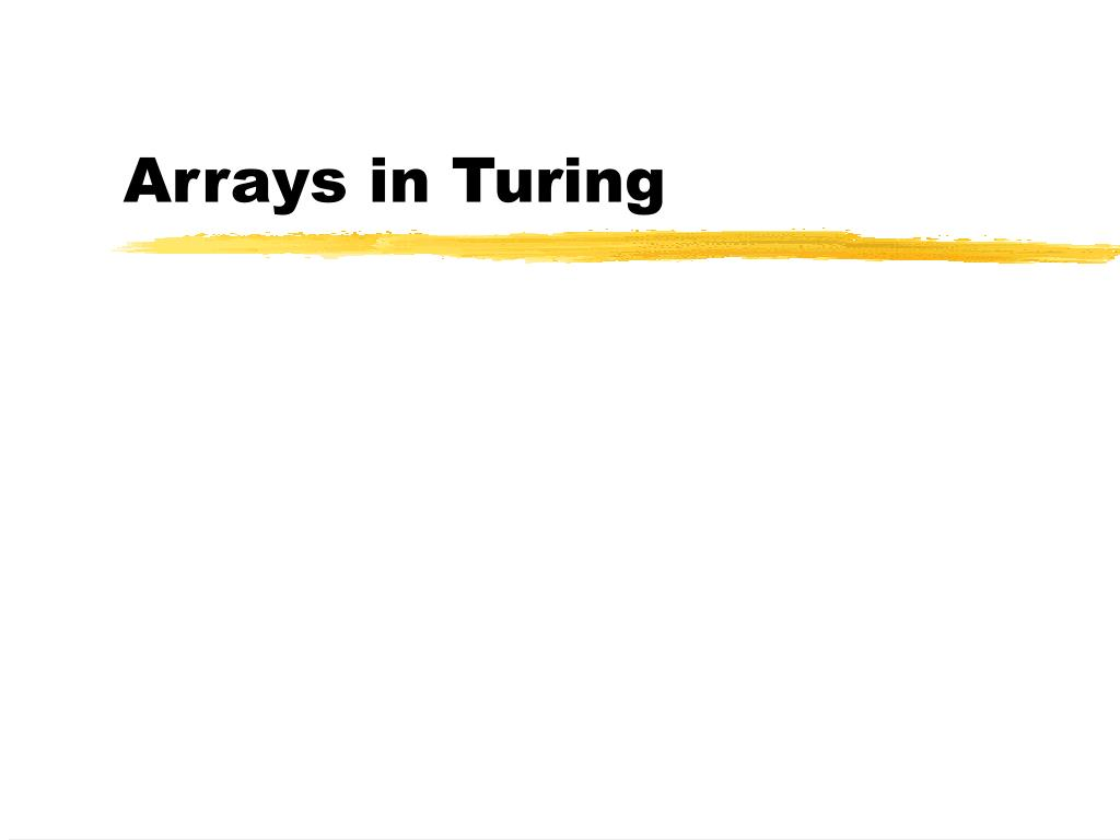 Arrays in Turing