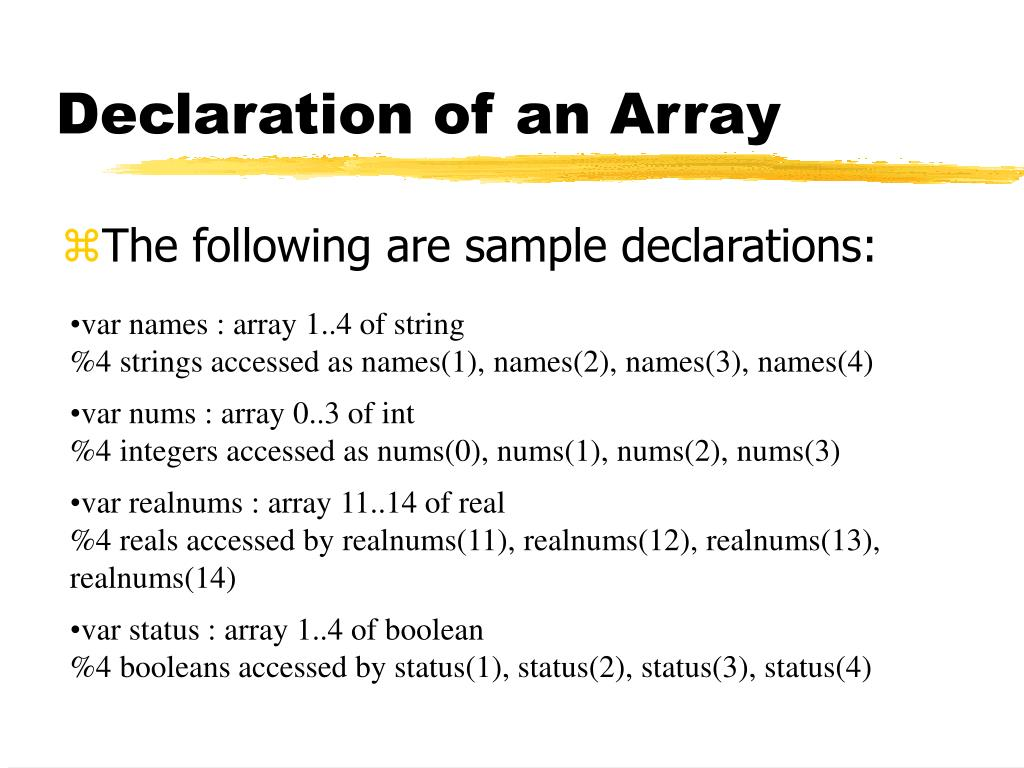 Declaration of an Array