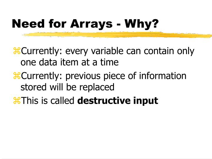 Need for arrays why