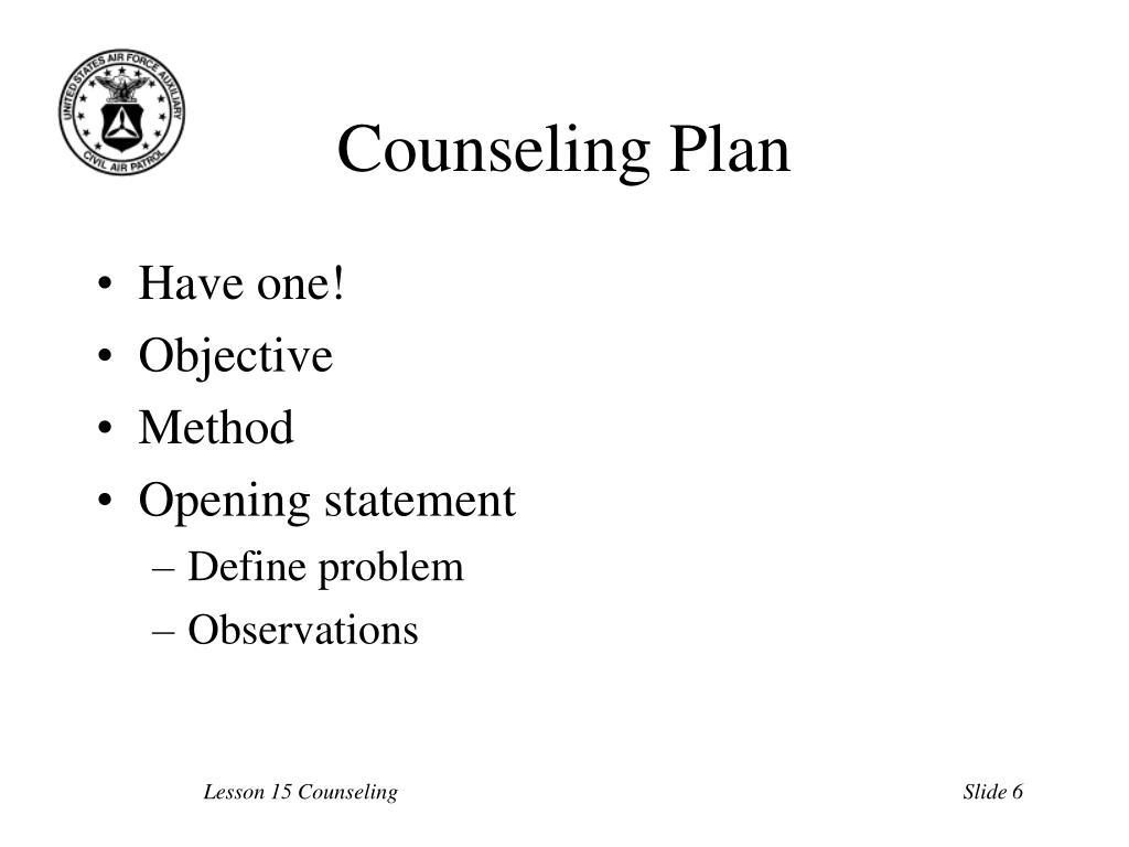 Counseling Plan