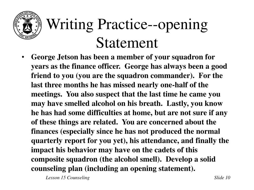 Writing Practice--opening Statement