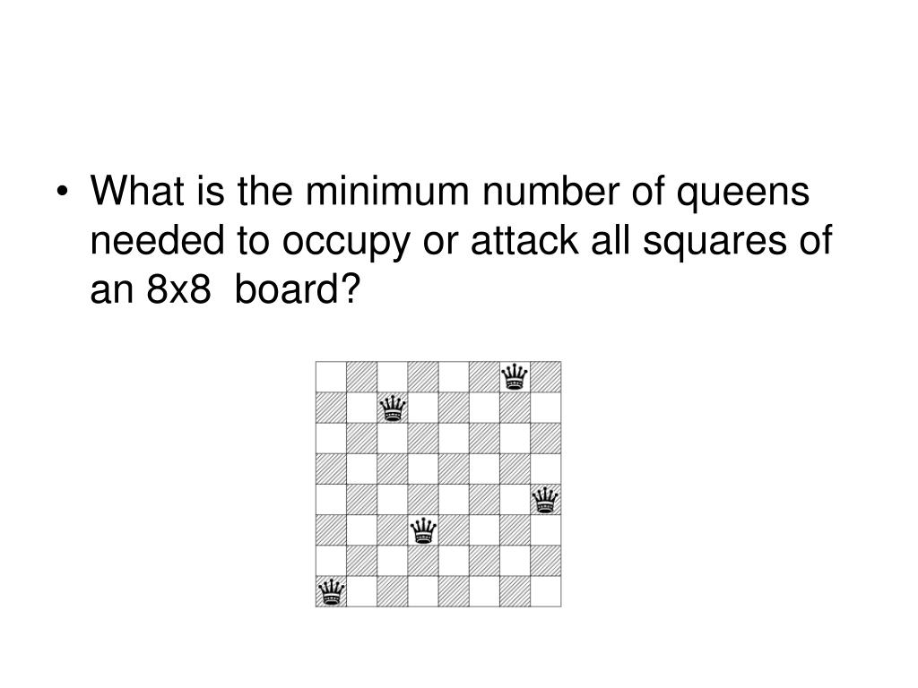 What is the minimum number of queens needed to occupy or attack all squares of an 8x8  board?