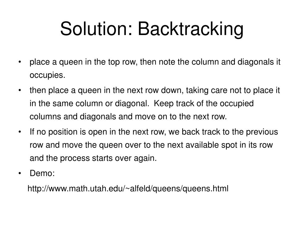 Solution: Backtracking