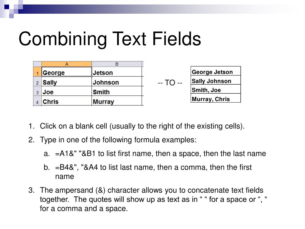 Combining Text Fields