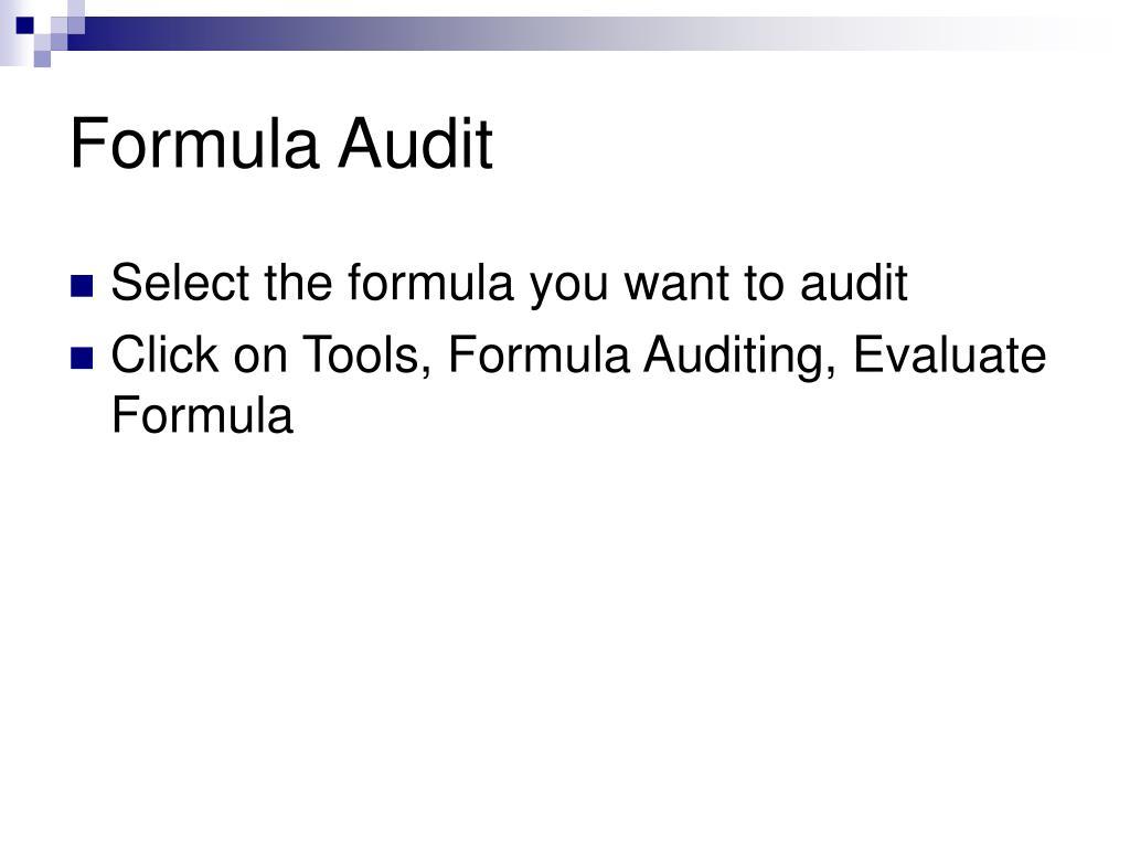 Formula Audit