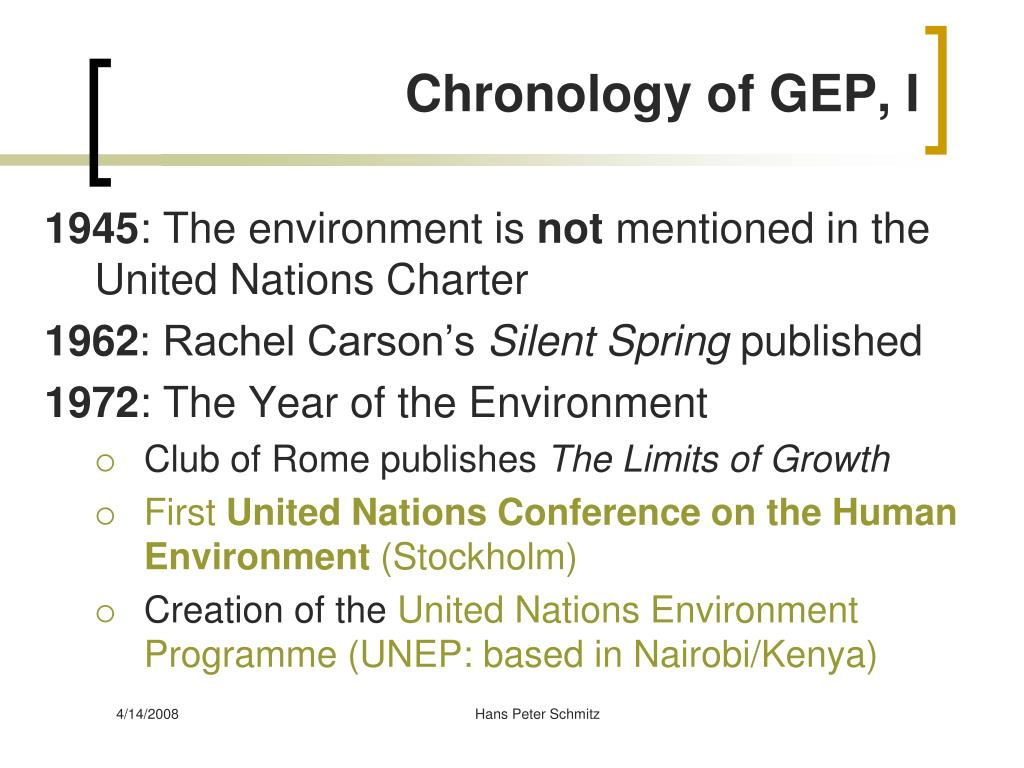 Chronology of GEP, I