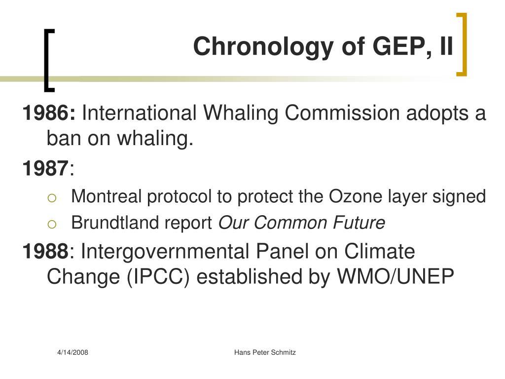 Chronology of GEP, II
