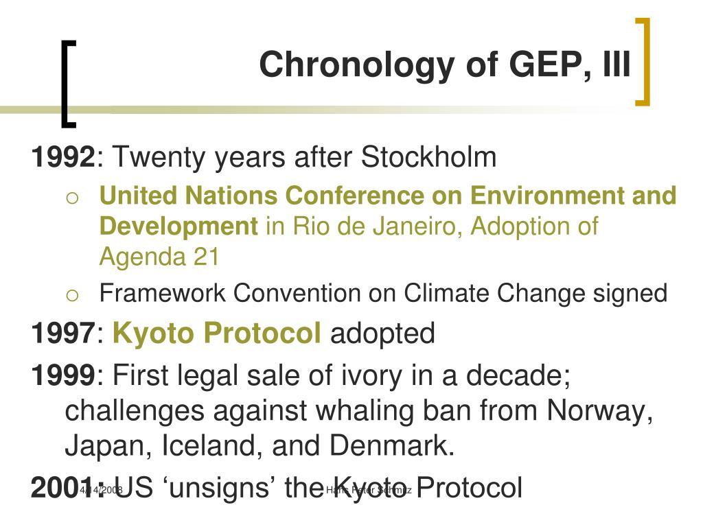 Chronology of GEP, III