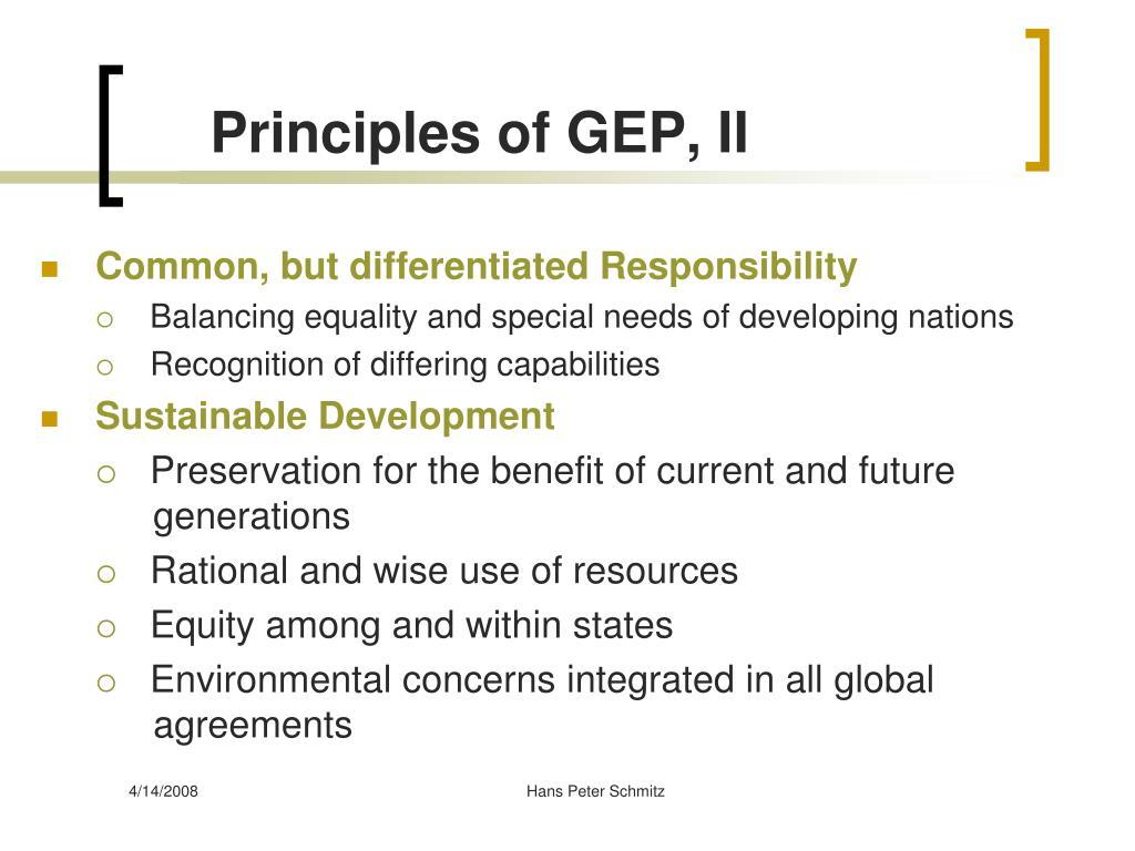 Principles of GEP, II