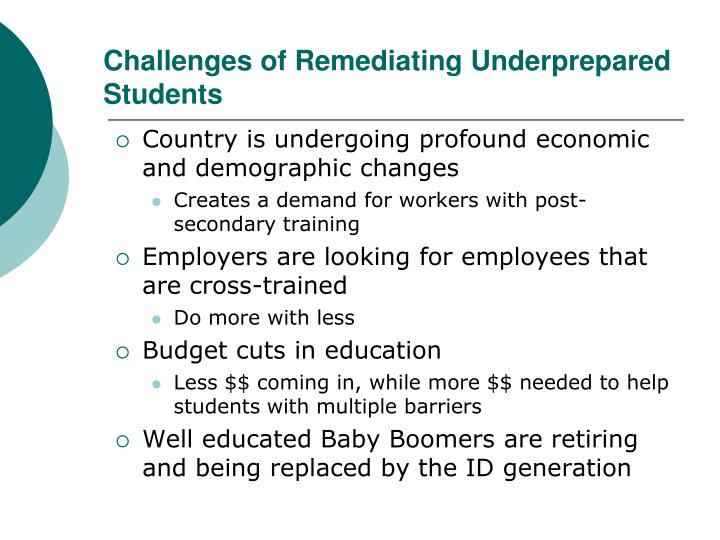 Challenges of remediating underprepared students