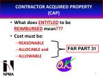 contractor acquired property cap36