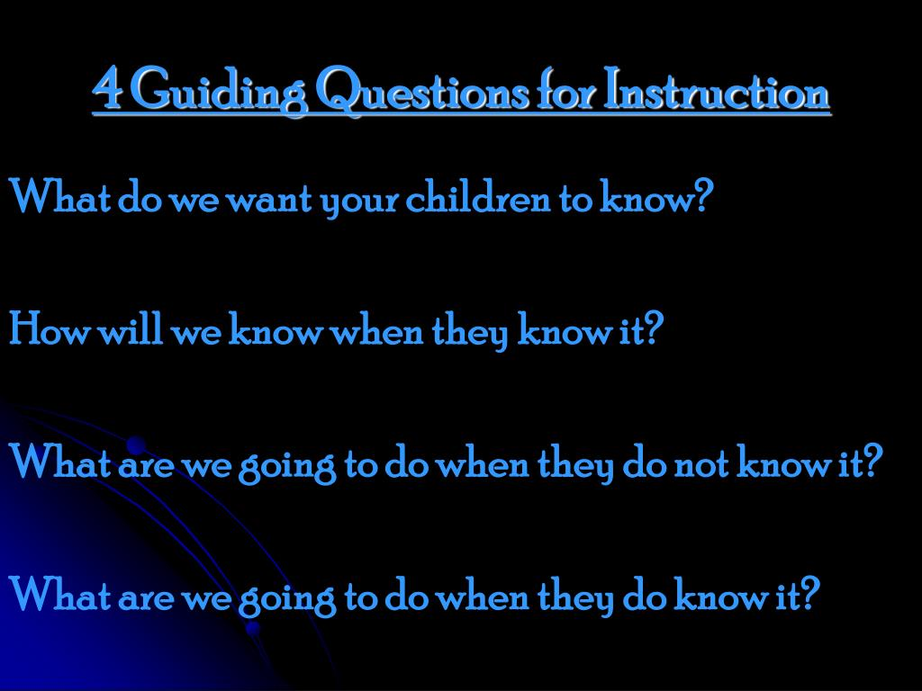 4 Guiding Questions for Instruction