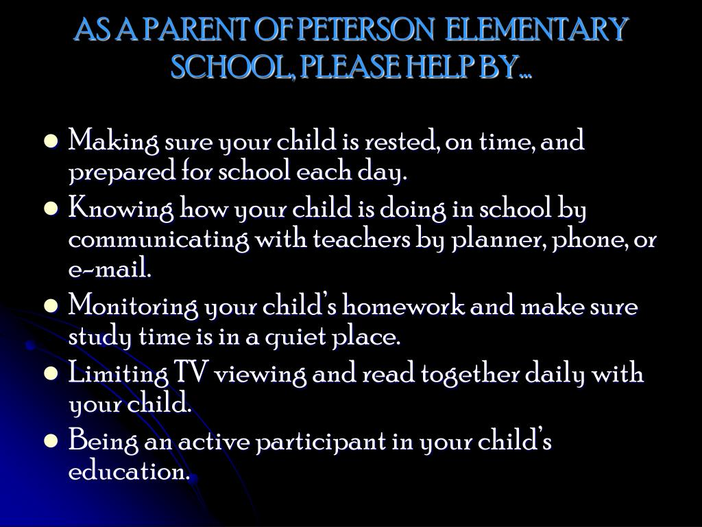 AS A PARENT OF PETERSON  ELEMENTARY SCHOOL, PLEASE HELP BY…