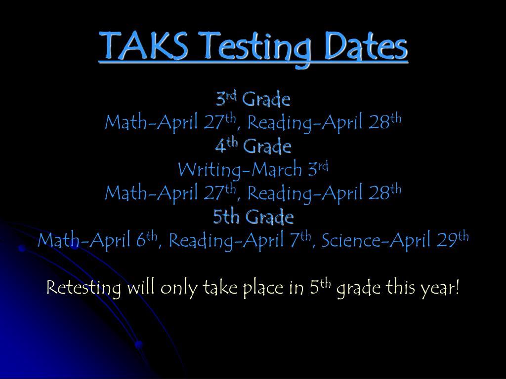 TAKS Testing Dates