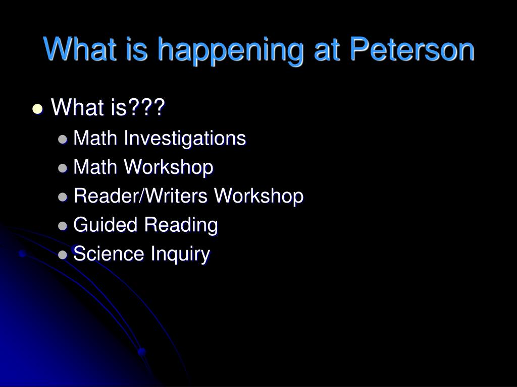 What is happening at Peterson
