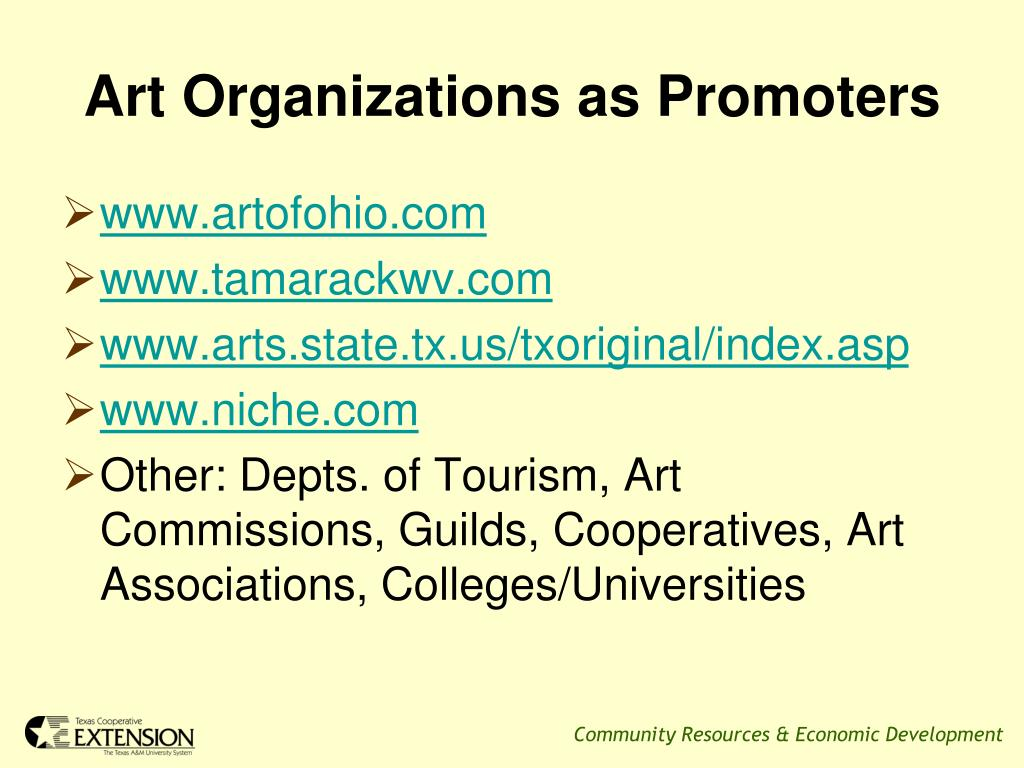 Art Organizations as Promoters
