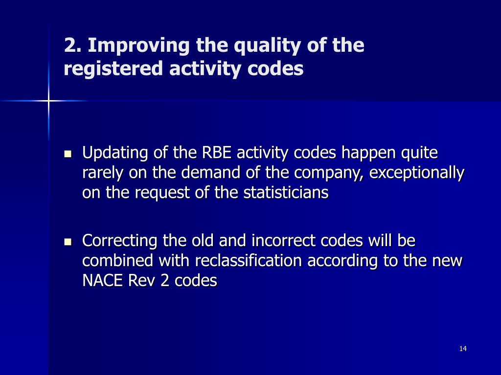 2. Improving the quality of the registered activity codes
