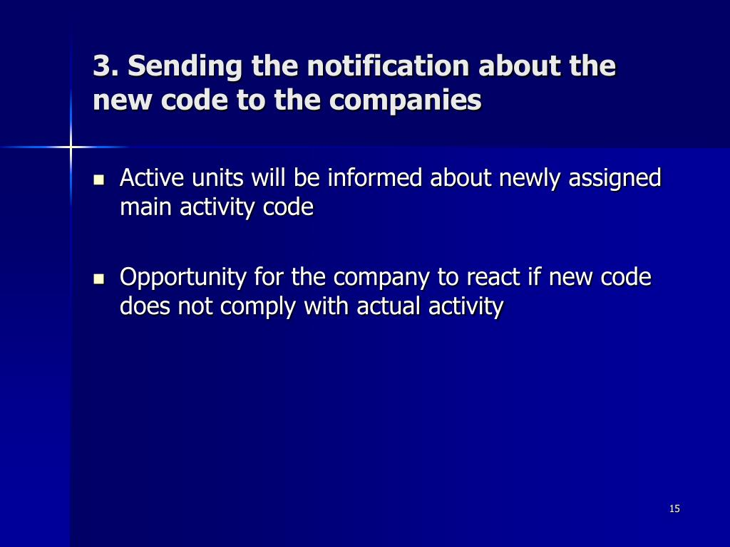 3. Sending the notification about the new code to the companies