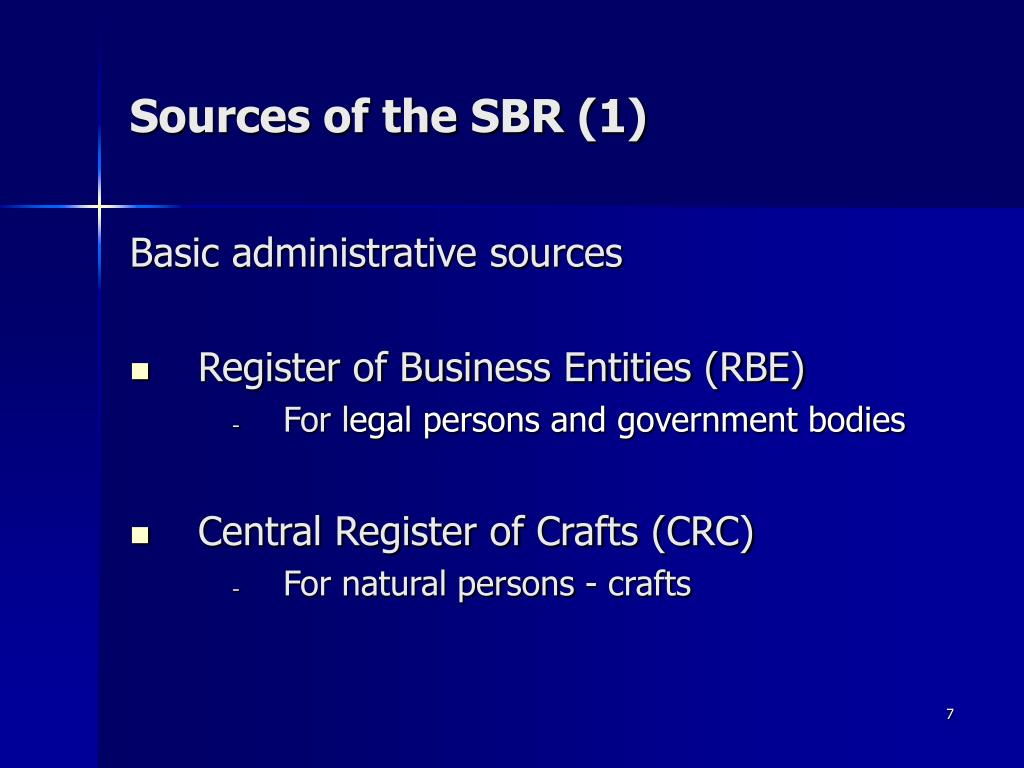 Sources of the SBR