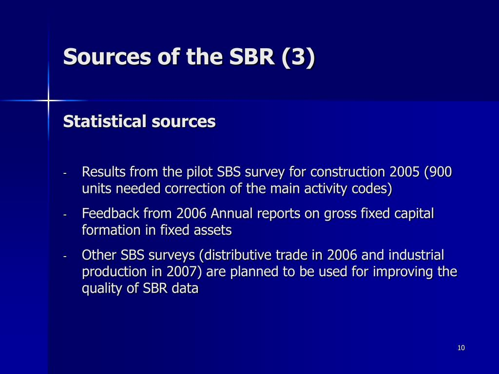 Sources of the SBR (3)