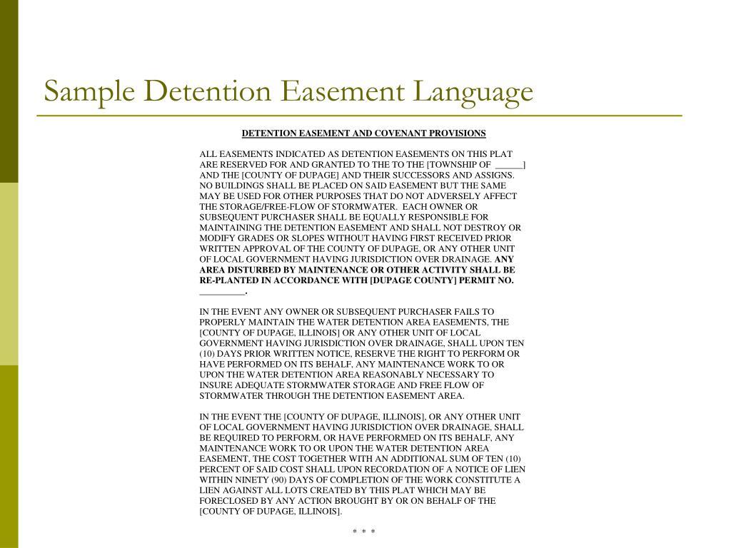Sample Detention Easement Language