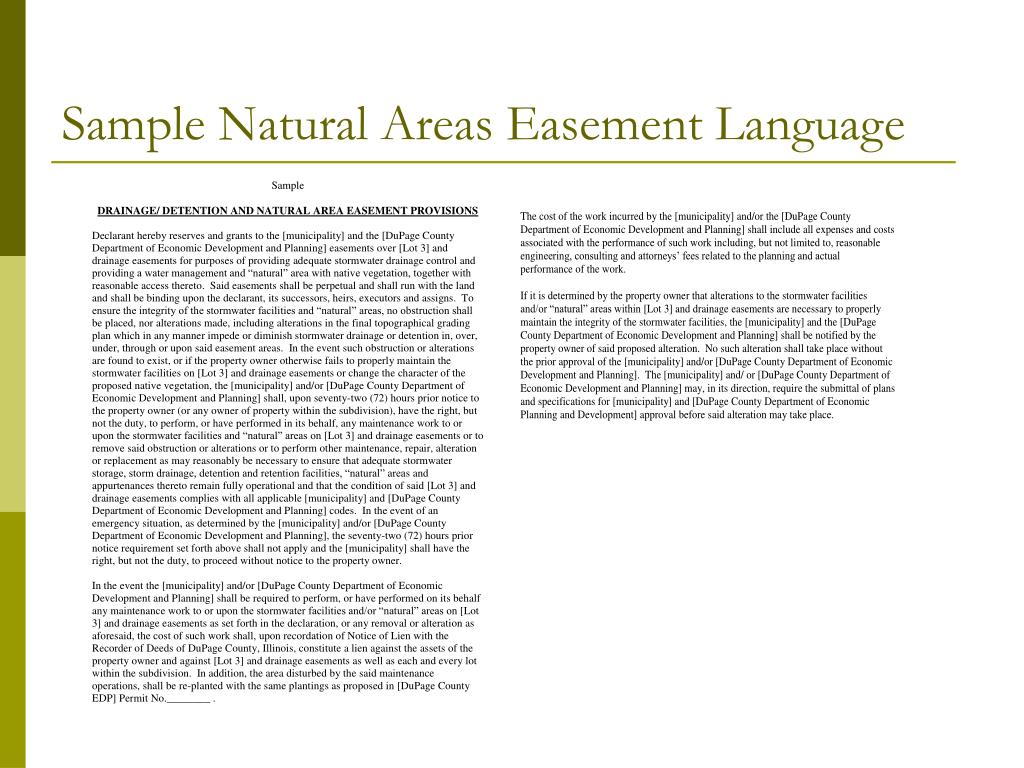 Sample Natural Areas Easement Language