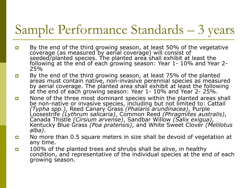 Sample Performance Standards – 3 years