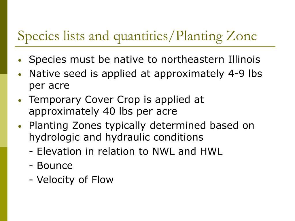 Species lists and quantities/Planting Zone