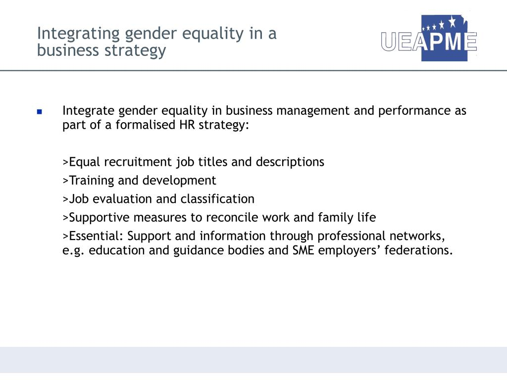 Integrating gender equality in a