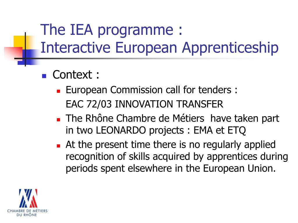 The IEA programme :