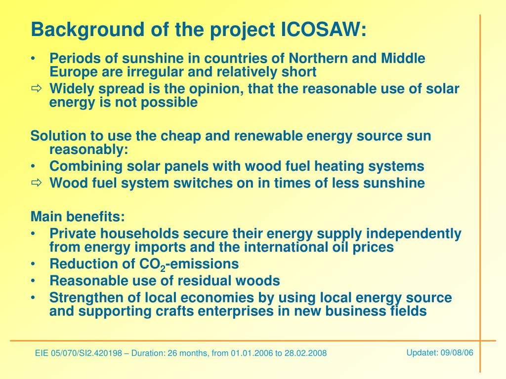 Background of the project ICOSAW: