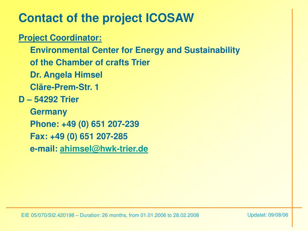 Contact of the project ICOSAW