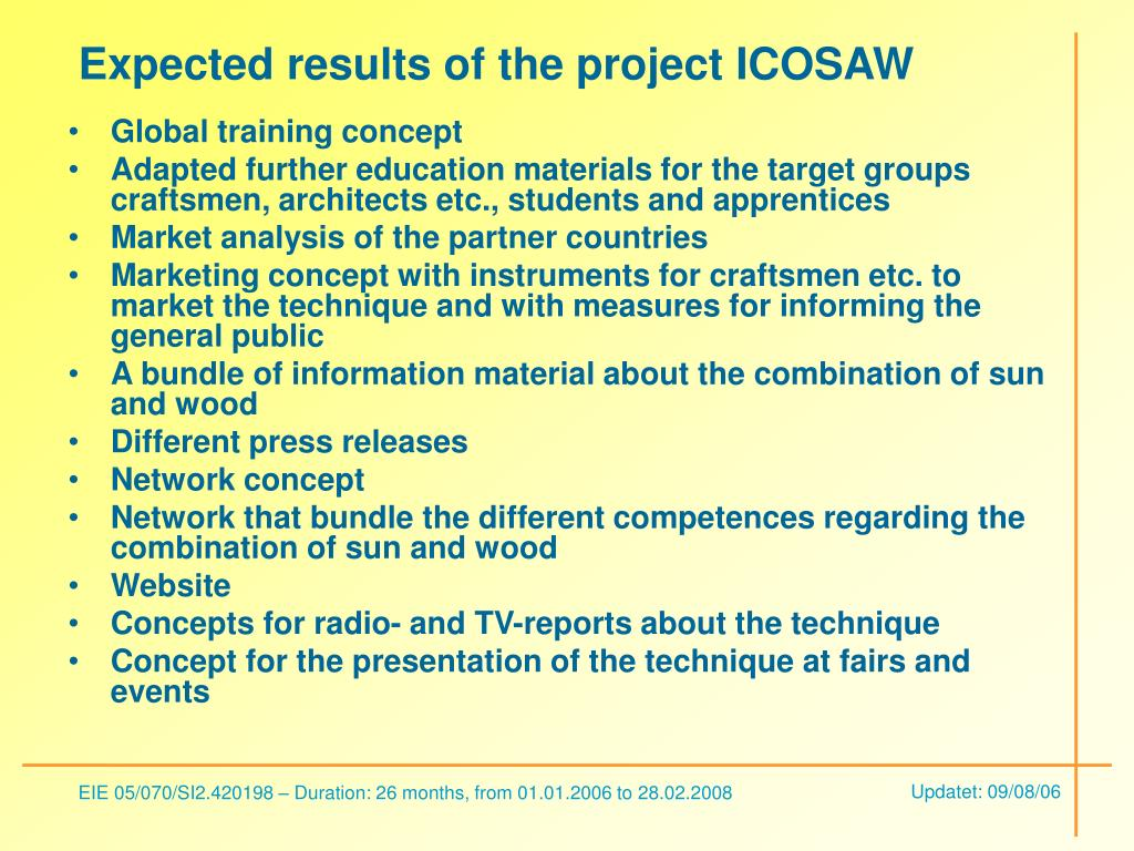 Expected results of the project ICOSAW
