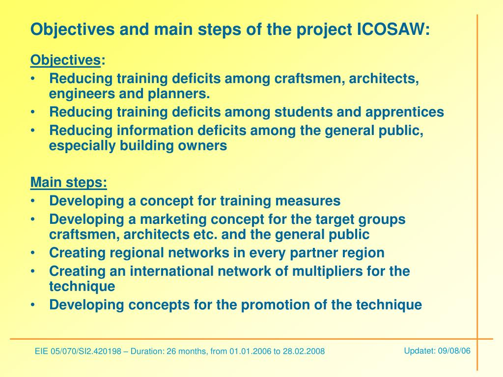 Objectives and main steps of the project ICOSAW: