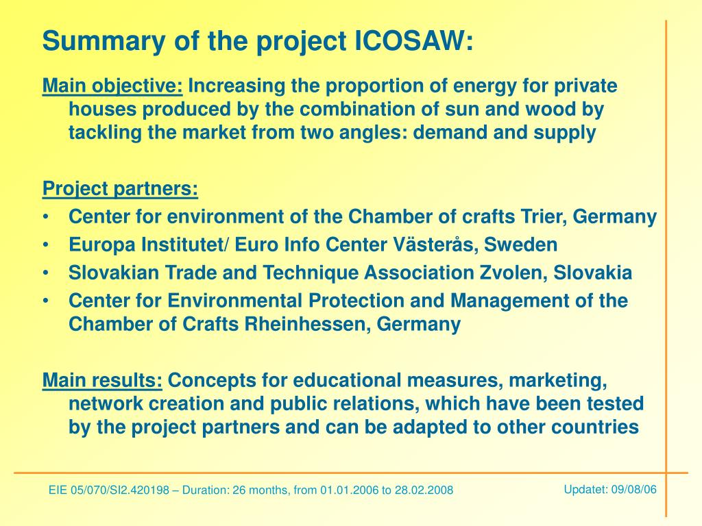 Summary of the project ICOSAW:
