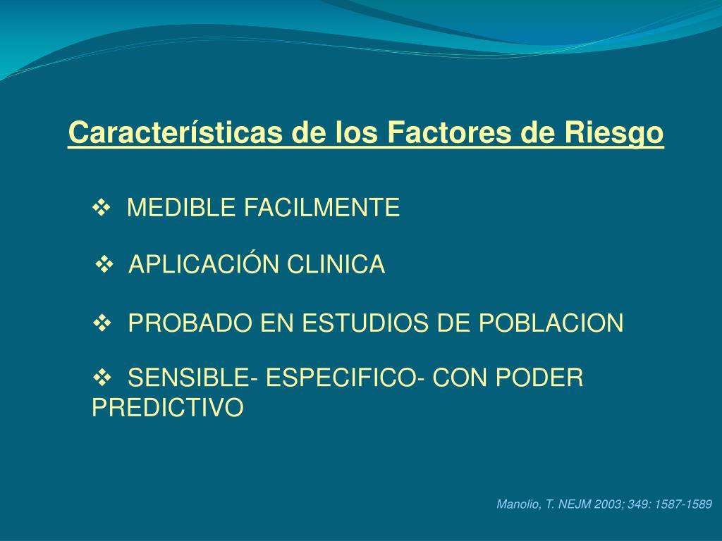 Características de los Factores de Riesgo