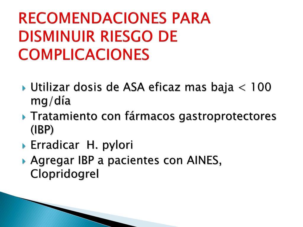 RECOMENDACIONES PARA DISMINUIR RIESGO DE COMPLICACIONES