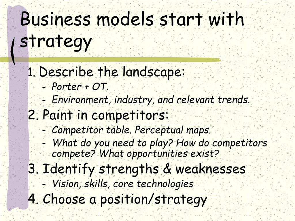 Business models start with strategy