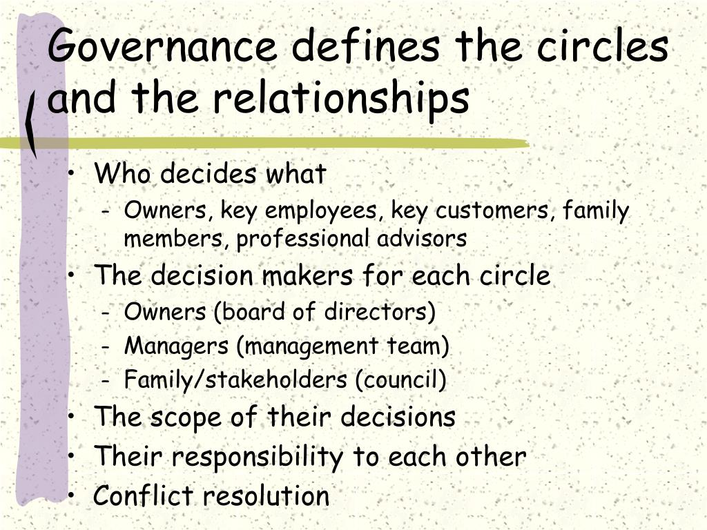 Governance defines the circles and the relationships