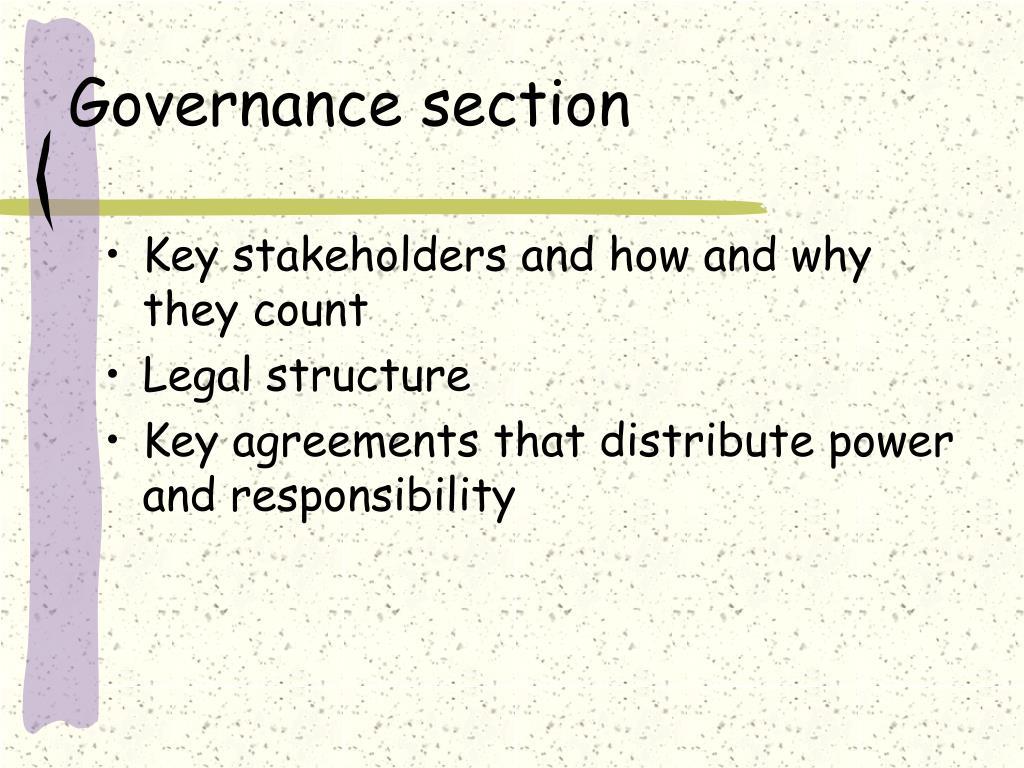 Governance section