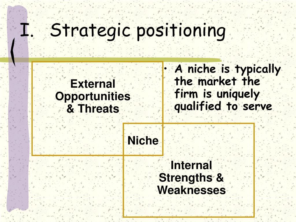 I.Strategic positioning