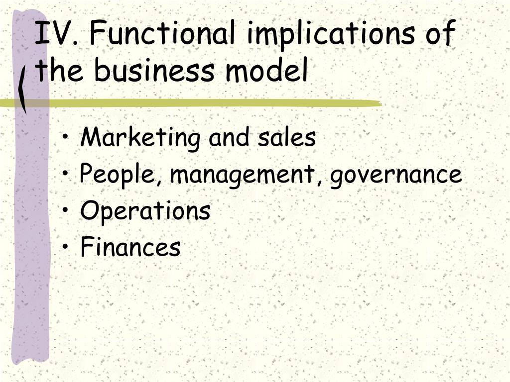 IV. Functional implications of the business model