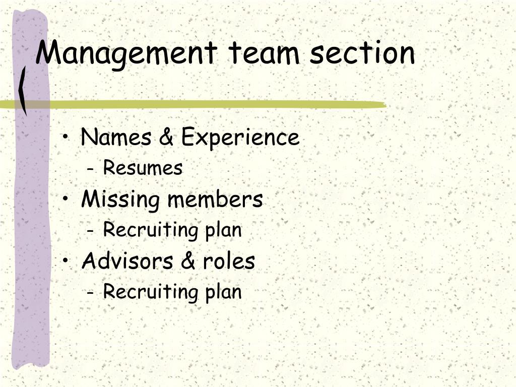 Management team section