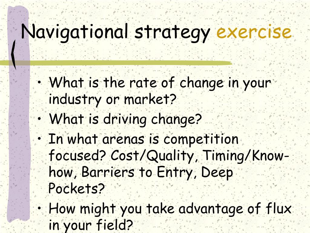 Navigational strategy