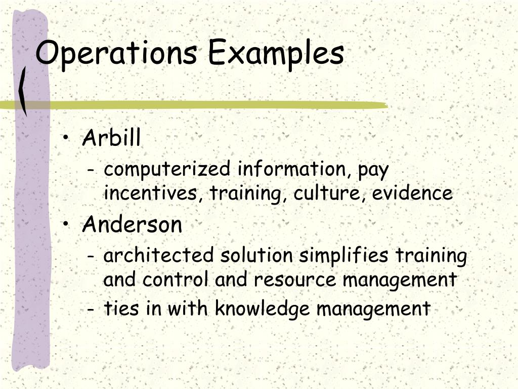 Operations Examples